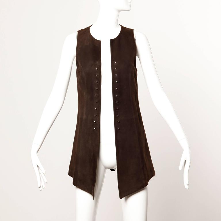 Christian Lacroix Vintage Brown Suede Leather Lace Up Boho Tunic Vest 5