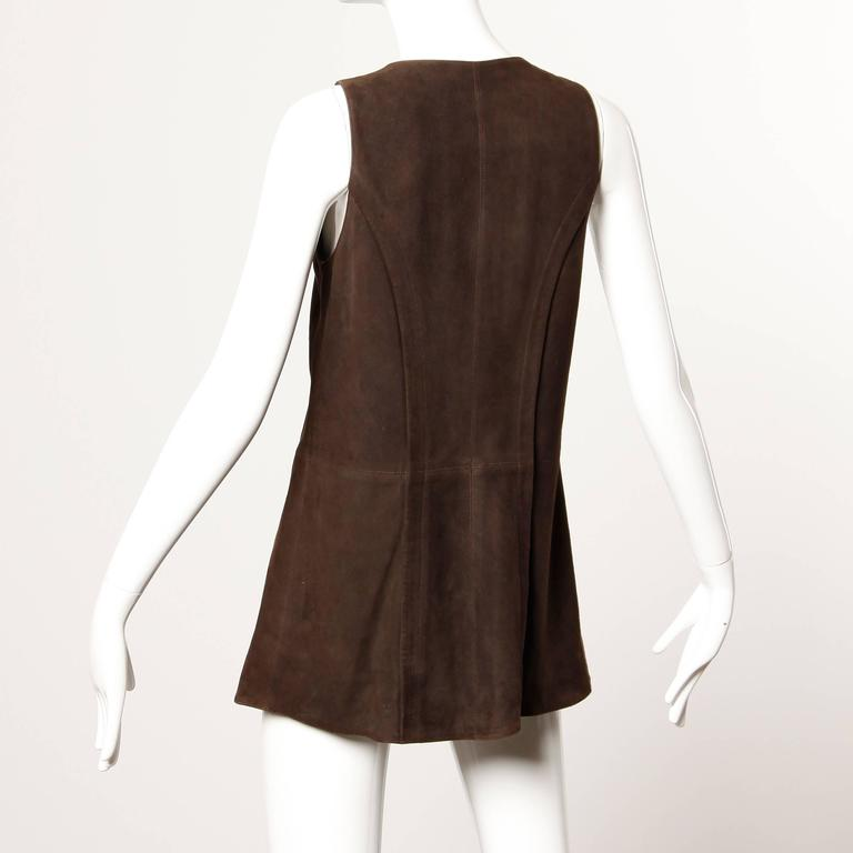 Christian Lacroix Vintage Brown Suede Leather Lace Up Boho Tunic Vest 3