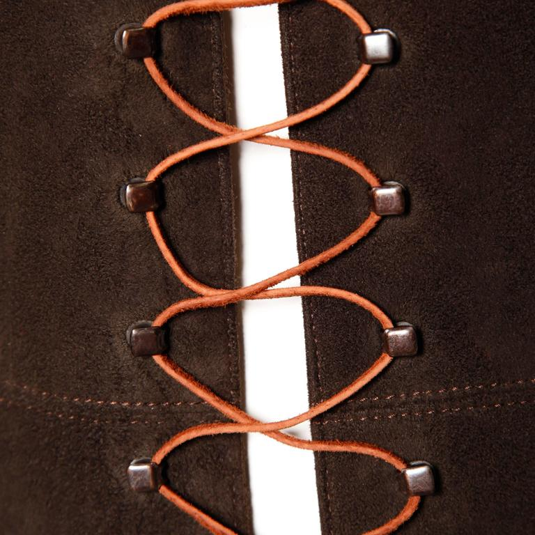 Christian Lacroix Vintage Brown Suede Leather Lace Up Boho Tunic Vest 4