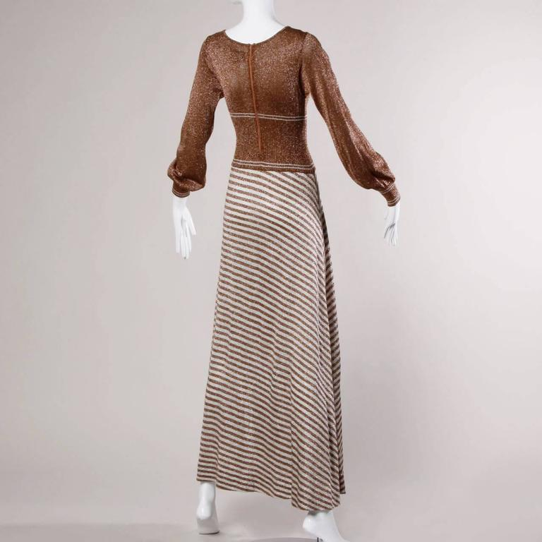 Brown Wenjilli 1970s Vintage Metallic Knit Striped Maxi Dress For Sale
