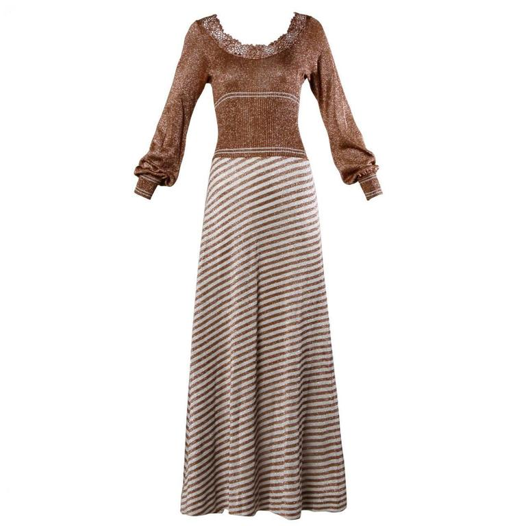 Wenjilli 1970s Vintage Metallic Knit Striped Maxi Dress For Sale