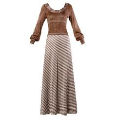 Wenjilli 1970s Vintage Metallic Knit Striped Maxi Dress