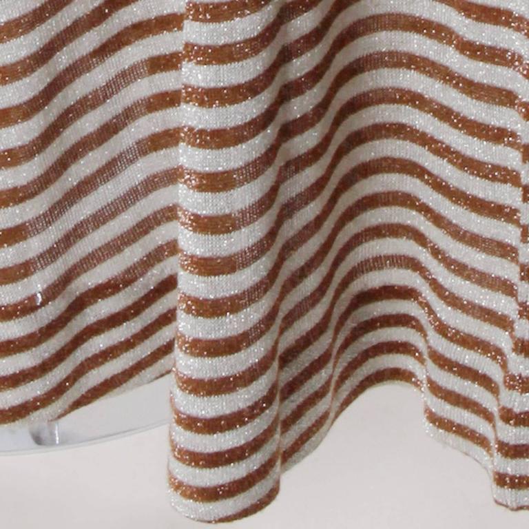 Women's Wenjilli 1970s Vintage Metallic Knit Striped Maxi Dress For Sale
