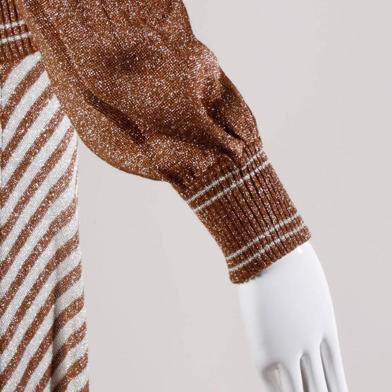 Wenjilli 1970s Vintage Metallic Knit Striped Maxi Dress For Sale 1