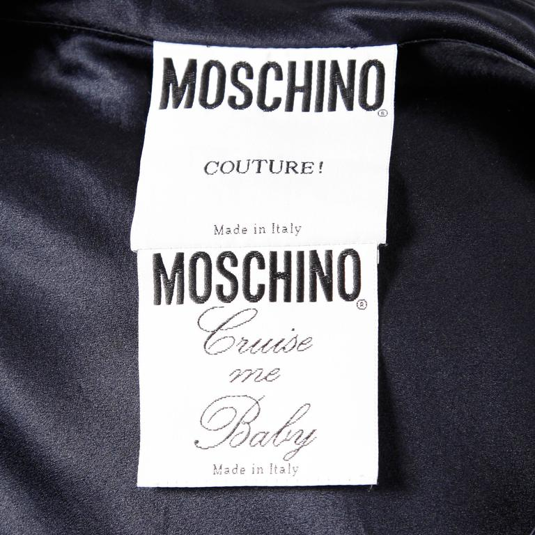 Black Moschino Couture! Cruise Me Baby Elegant Navy Blue Silk Dress For Sale