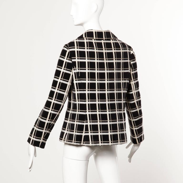 1960s Bill Blass for Maurice Rentner Vintage Wool Windowpane Plaid Blazer Jacket 3