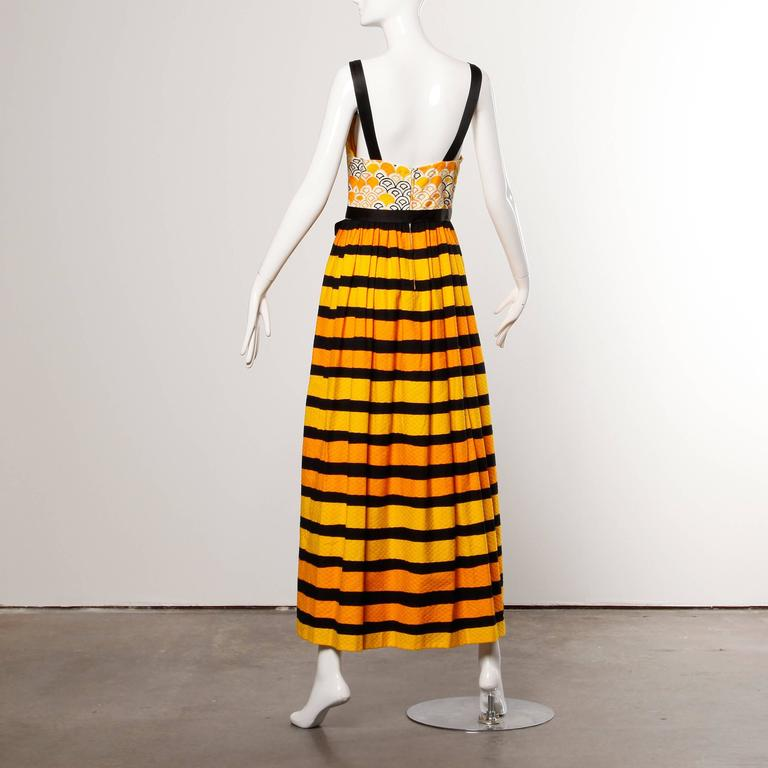 1970s Larry Aldrich Vintage Yellow Orange + Black Striped Print Maxi Dress  2