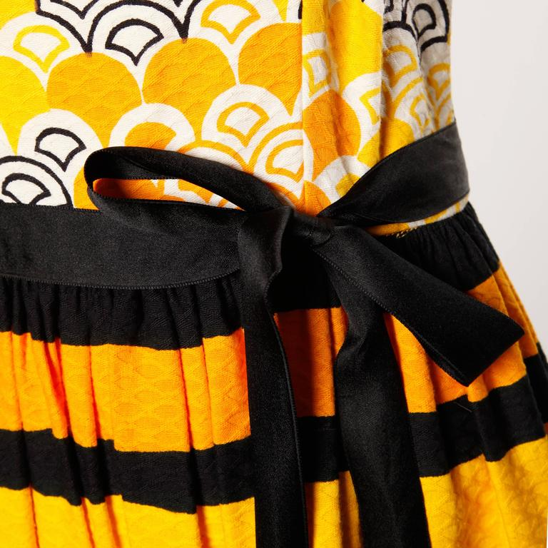 1970s Larry Aldrich Vintage Yellow Orange + Black Striped Print Maxi Dress  5