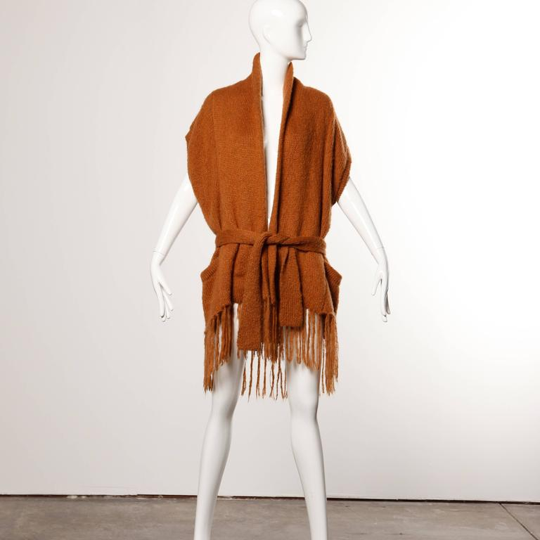 Kenzo Vintage 80s Avant Garde Knit Cocoon Jacket with Fringe Trim For Sale 1