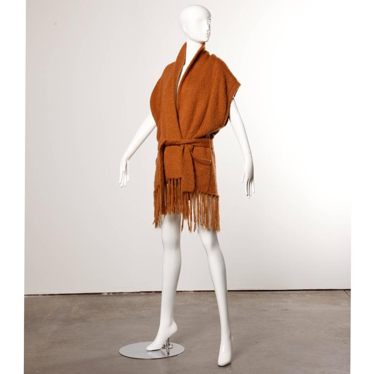 Brown Kenzo Vintage 80s Avant Garde Knit Cocoon Jacket with Fringe Trim For Sale