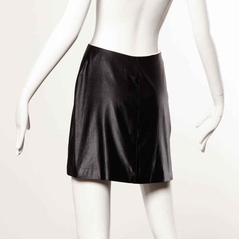 1970s Le Gambi Vintage Shiny Wet Look Spandex Disco Pants Fabric Zip Up Skirt 4