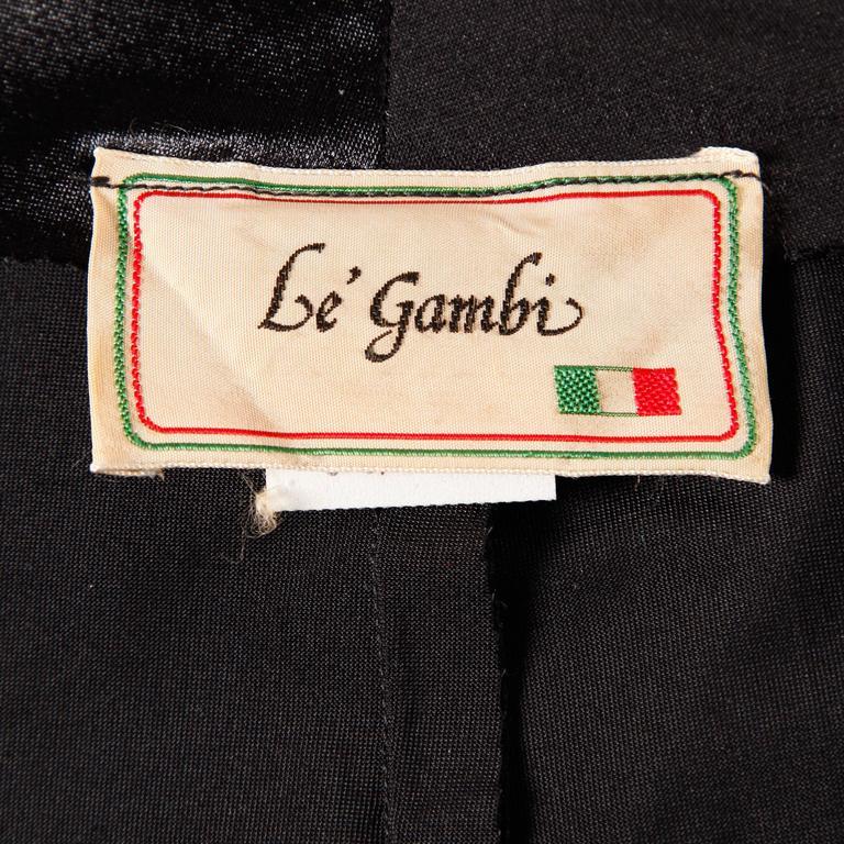 1970s Le Gambi Vintage Shiny Wet Look Spandex Disco Pants Fabric Zip Up Skirt 3