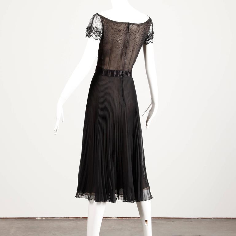 Oscar de la Renta Vintage Black Silk Beaded Dress with Pleated Skirt For Sale 2
