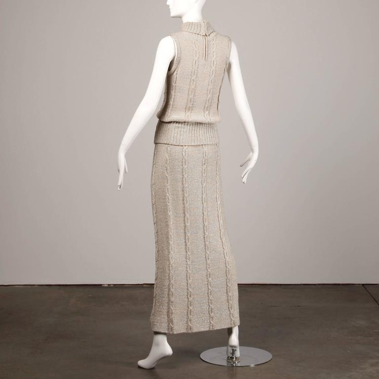 Silver Metallic Cable Knit Top and Maxi Skirt Two Piece Ensemble, 1970s  For Sale 1