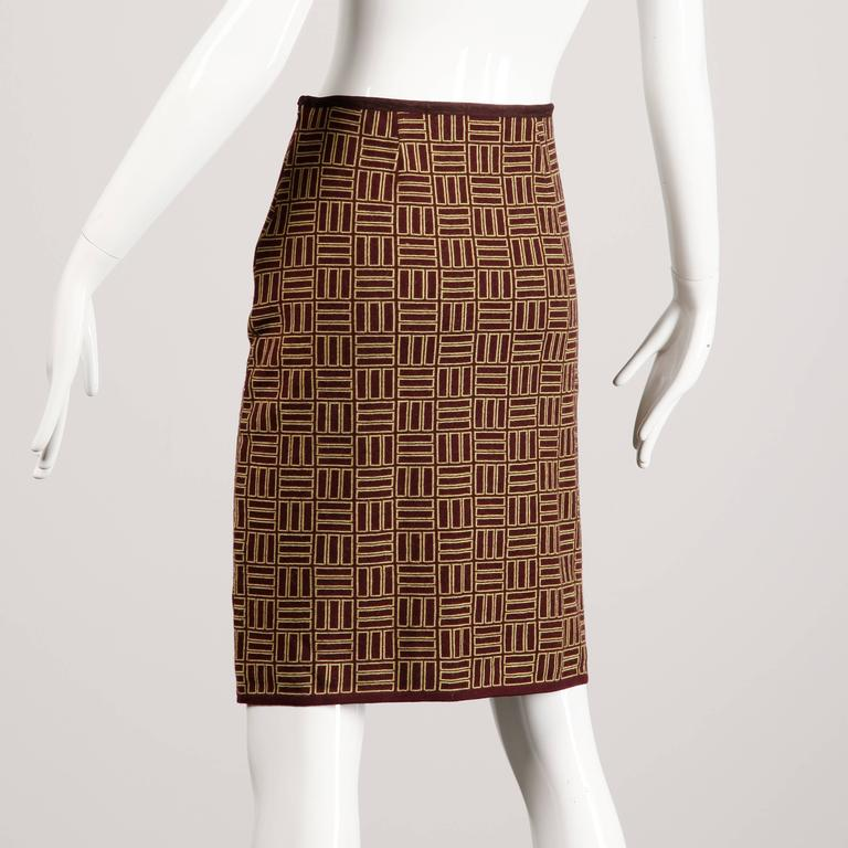 Brown Alessandro Dell'Acqua Vintage Geometric Merino Wool Knit Skirt For Sale