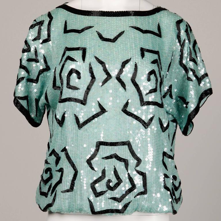 Unworn Judith Ann 1980s Vintage Mint Green Sequin + Beaded Silk Top with Sash 5