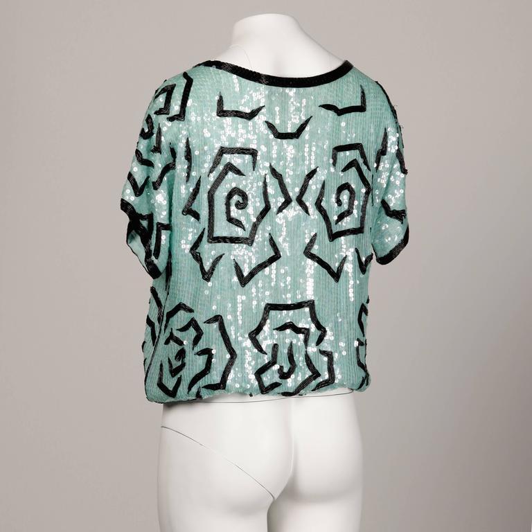 Unworn Judith Ann 1980s Vintage Mint Green Sequin + Beaded Silk Top with Sash 3