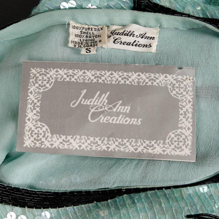 Unworn Judith Ann 1980s Vintage Mint Green Sequin + Beaded Silk Top with Sash 2