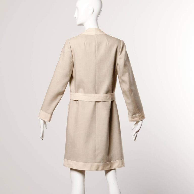 Beige Don Simonelli Vintage Neutral Minimalist Linen Coat and Sash For Sale