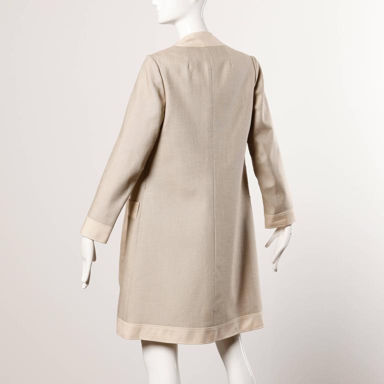 Don Simonelli Vintage Neutral Minimalist Linen Coat and Sash For Sale 1