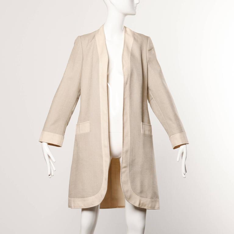 Women's Don Simonelli Vintage Neutral Minimalist Linen Coat and Sash For Sale