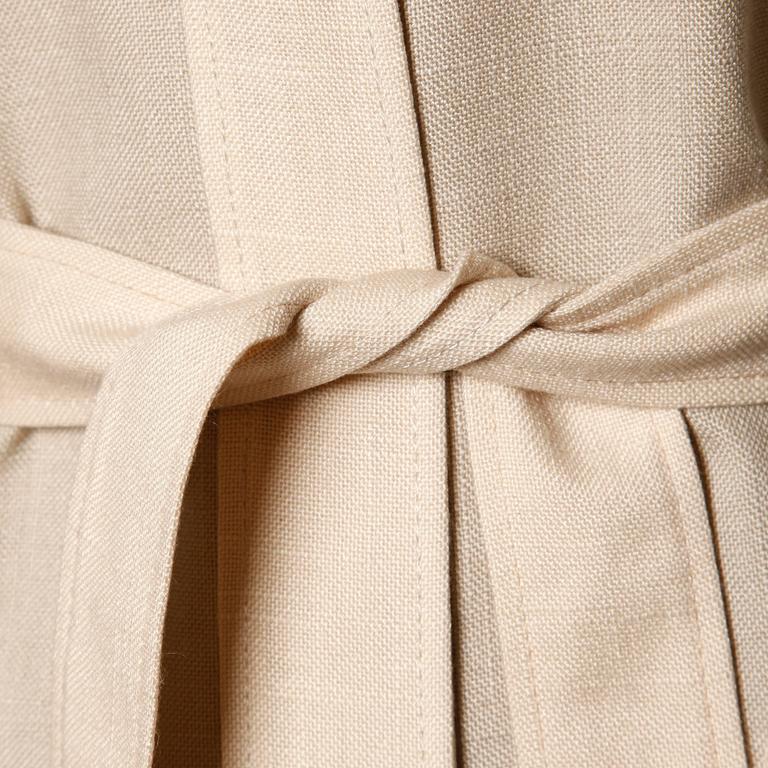 Don Simonelli Vintage Neutral Minimalist Linen Coat and Sash For Sale 2