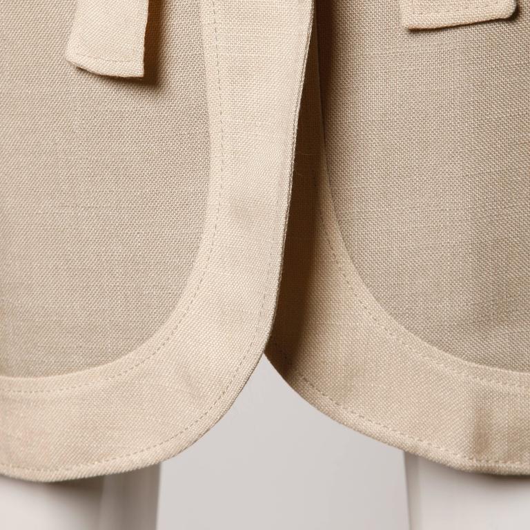Don Simonelli Vintage Neutral Minimalist Linen Coat and Sash For Sale 3