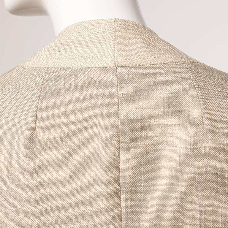 Don Simonelli Vintage Neutral Minimalist Linen Coat and Sash For Sale 4