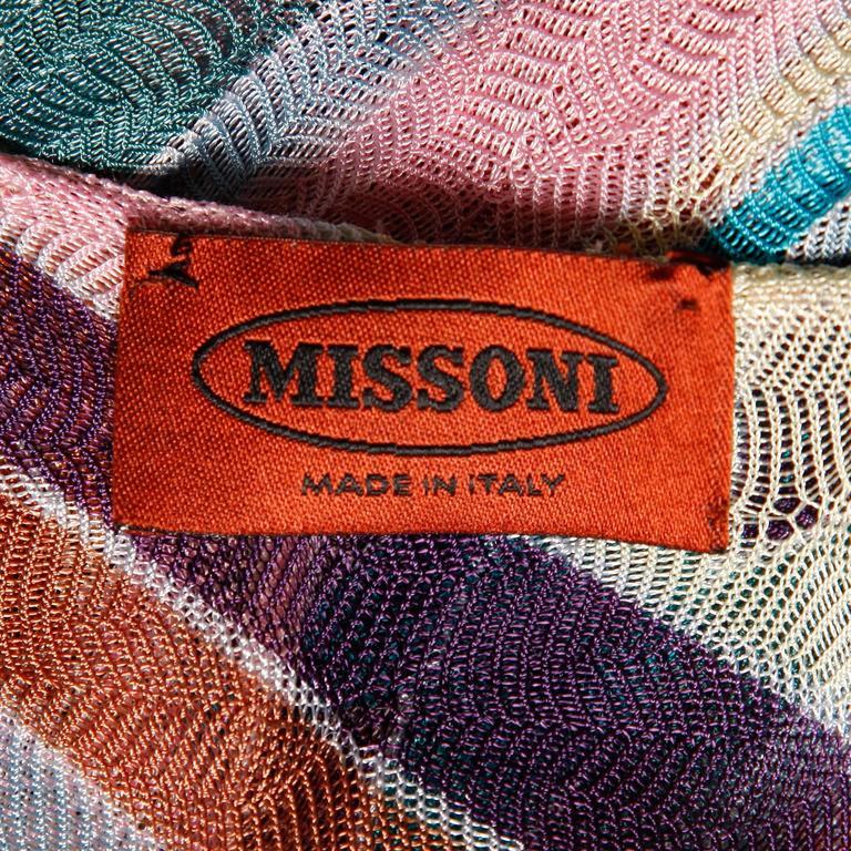 Beige Missoni Color Block Zig Zag Knit Dress For Sale