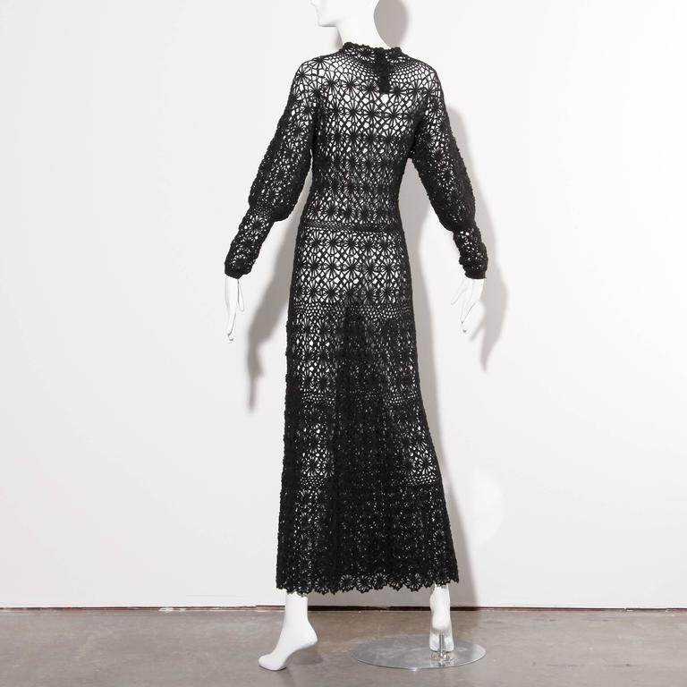 Black Hand Vintage Crochet Maxi Dress, 1970s  In Excellent Condition For Sale In Sparks, NV