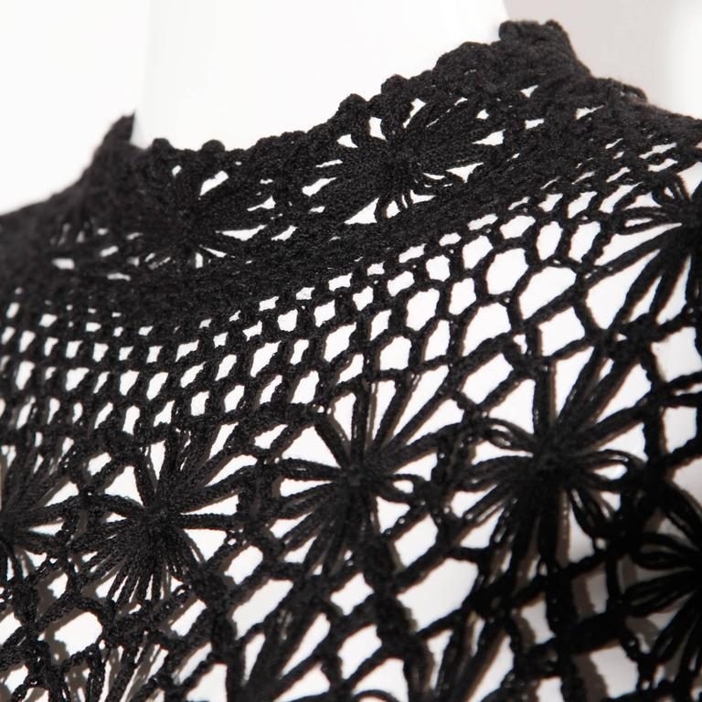 Black Hand Vintage Crochet Maxi Dress, 1970s  For Sale 1