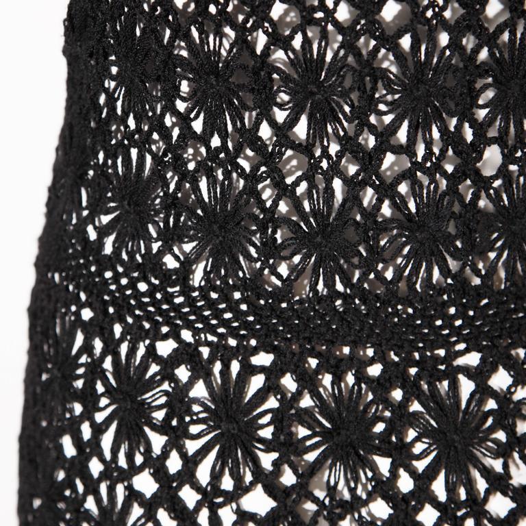 Black Hand Vintage Crochet Maxi Dress, 1970s  For Sale 2