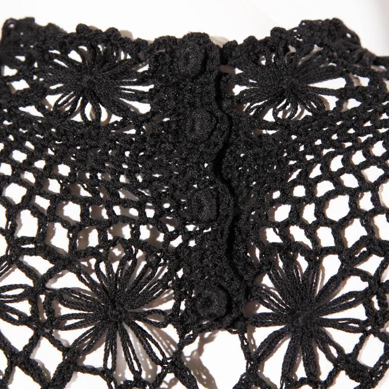 Women's Black Hand Vintage Crochet Maxi Dress, 1970s  For Sale