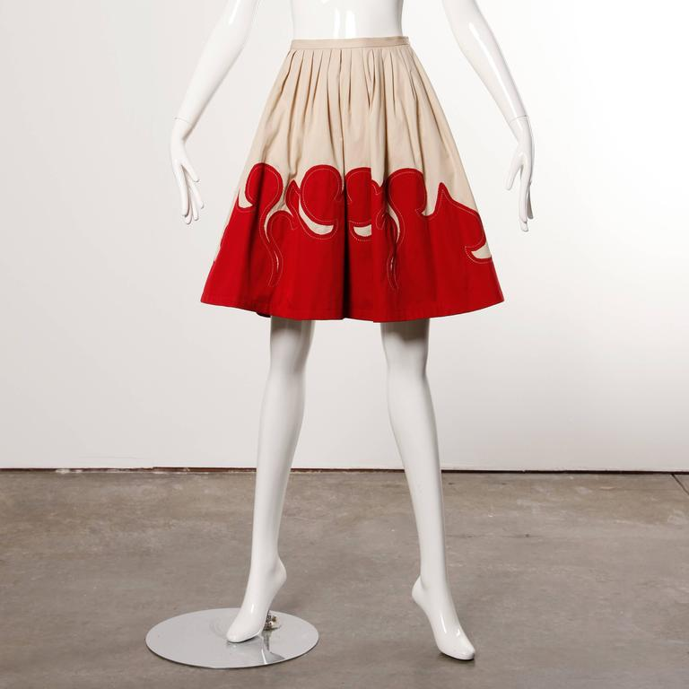 Moschino Vintage Red + Tan Cotton Patchwork Skirt with a Full Sweep For Sale 1