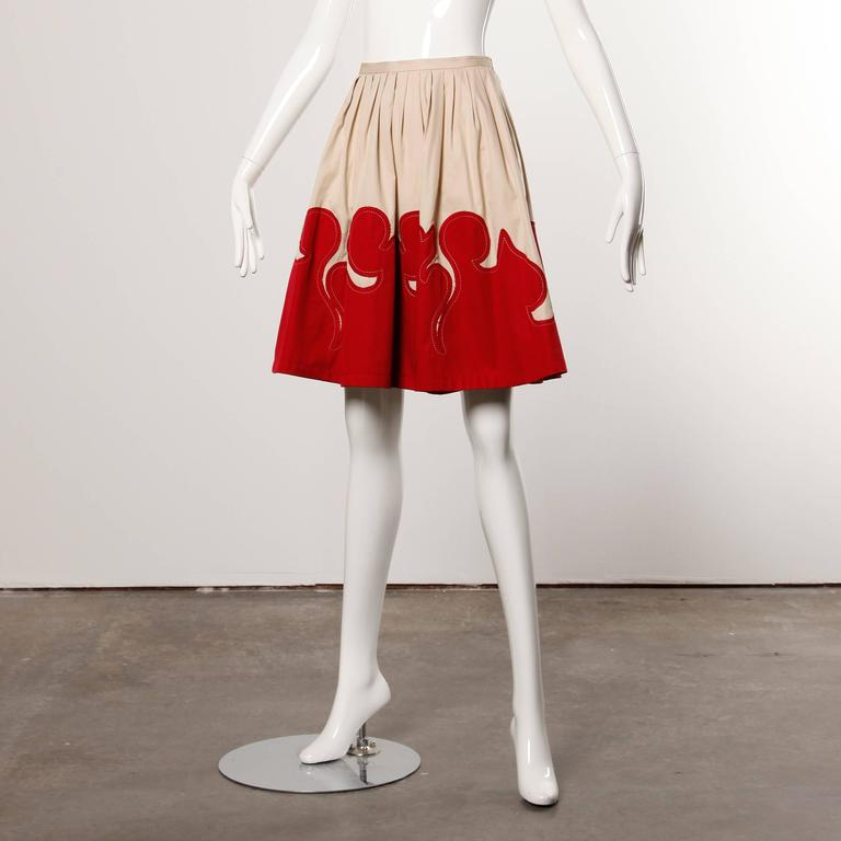 Moschino Vintage Red + Tan Cotton Patchwork Skirt with a Full Sweep 2