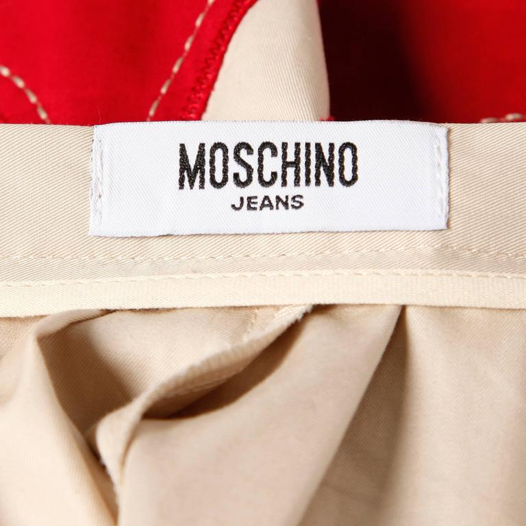 Beige Moschino Vintage Red + Tan Cotton Patchwork Skirt with a Full Sweep For Sale
