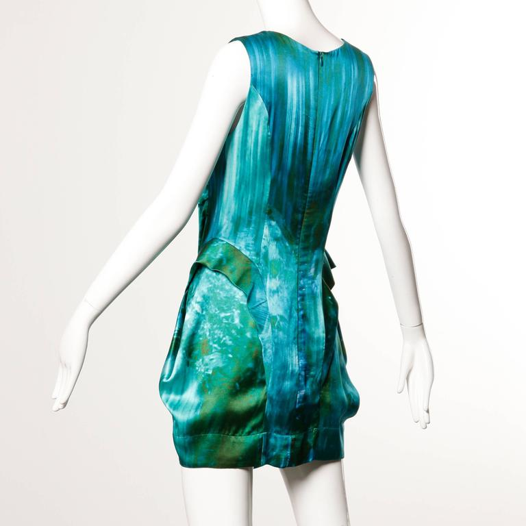 Peter Pilotto Avant Garde Silk Blue Green Watercolor Photo Print Dress 6