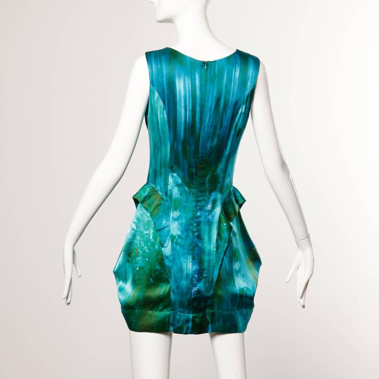 Peter Pilotto Avant Garde Silk Blue Green Watercolor Photo Print Dress 4