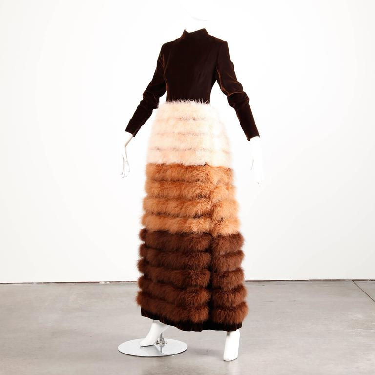 Museum Quality Geoffrey Beene 1960s Vintage Velvet Marabou Feather Dress or Gown 4