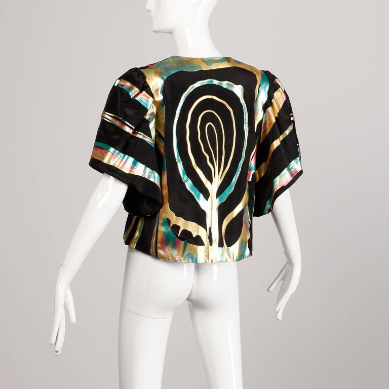 Black Vintage Hand Painted Metallic Grossgrain Jacket with Puff Sleeves For Sale