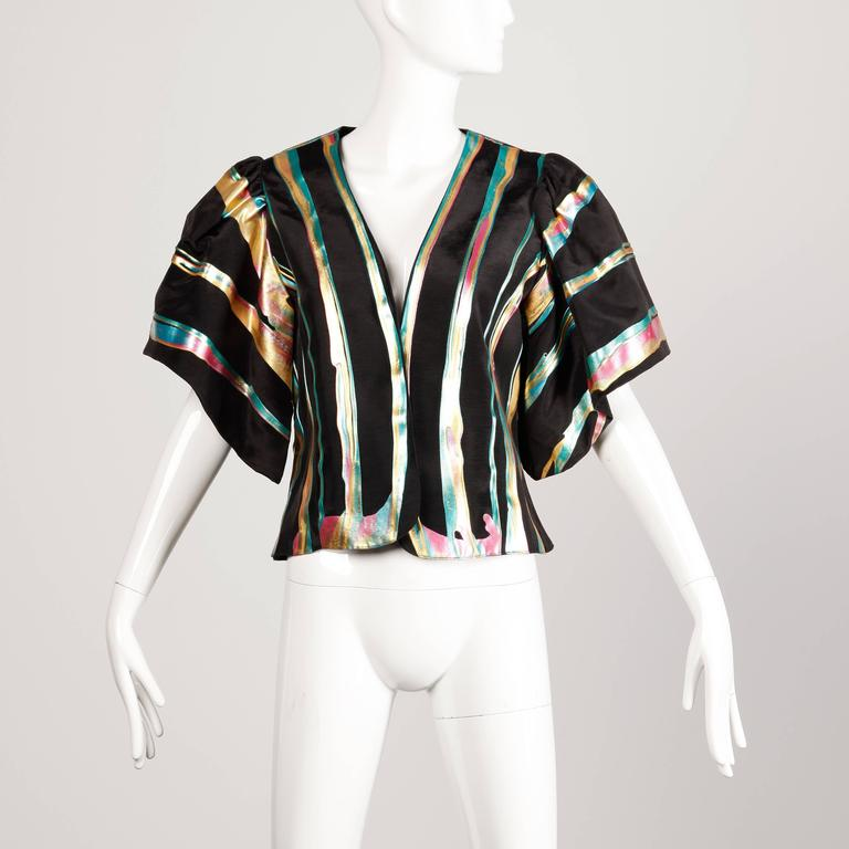 Vintage Hand Painted Metallic Grossgrain Jacket with Puff Sleeves For Sale 1