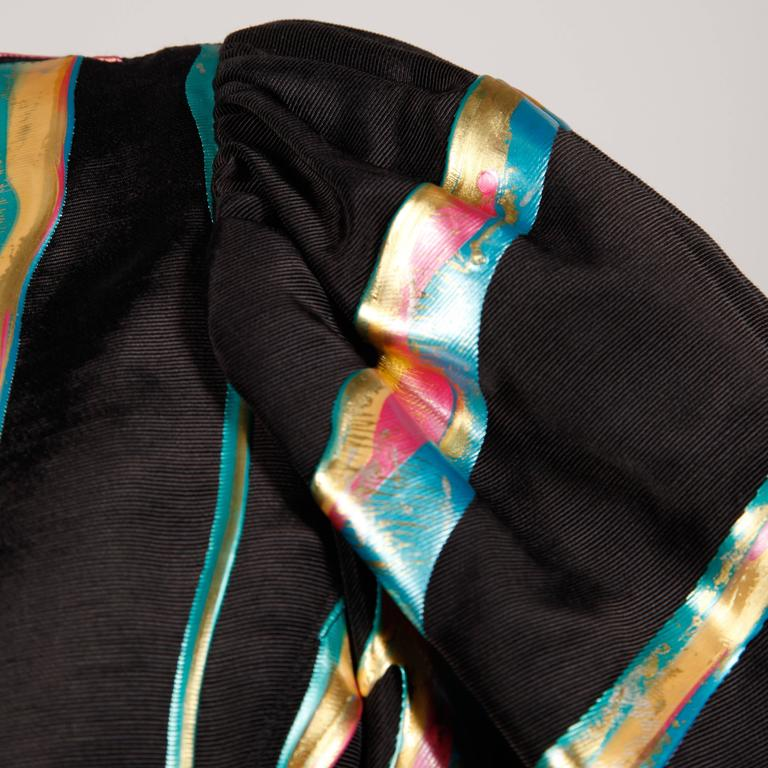 Vintage Hand Painted Metallic Grossgrain Jacket with Puff Sleeves In Excellent Condition For Sale In Sparks, NV