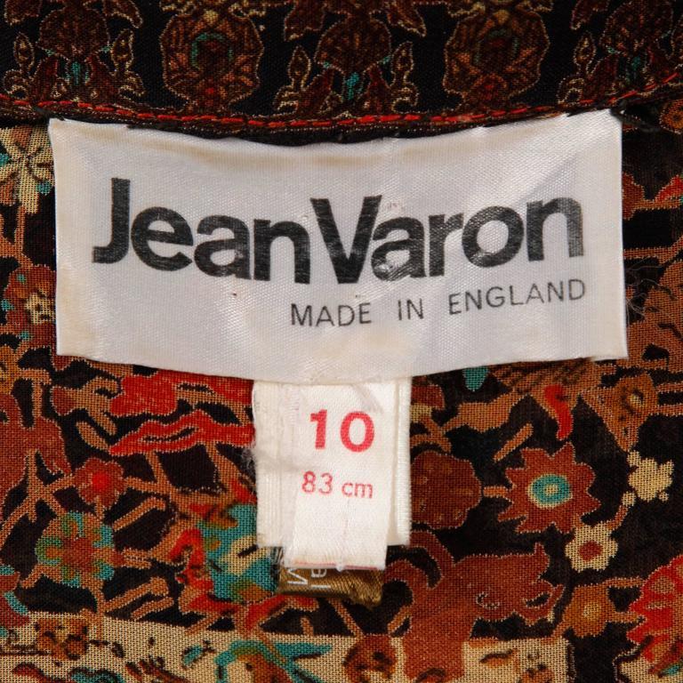 1970s Vintage Jean Varon Indian Paisley Print Dress with Balloon Sleeves 4