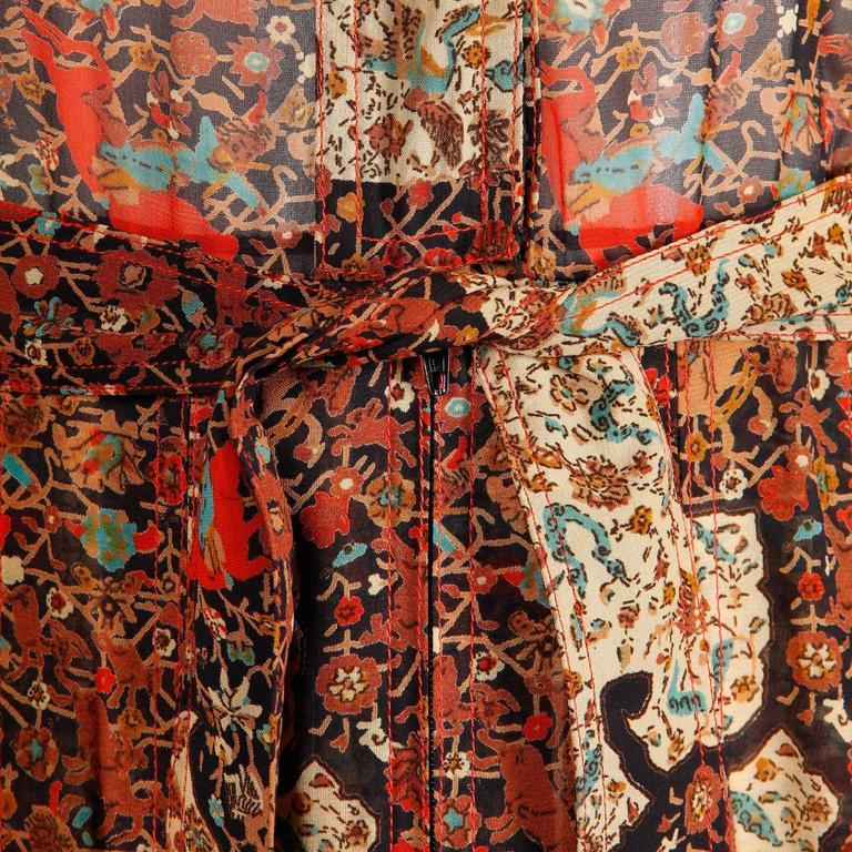1970s Vintage Jean Varon Indian Paisley Print Dress with Balloon Sleeves 5