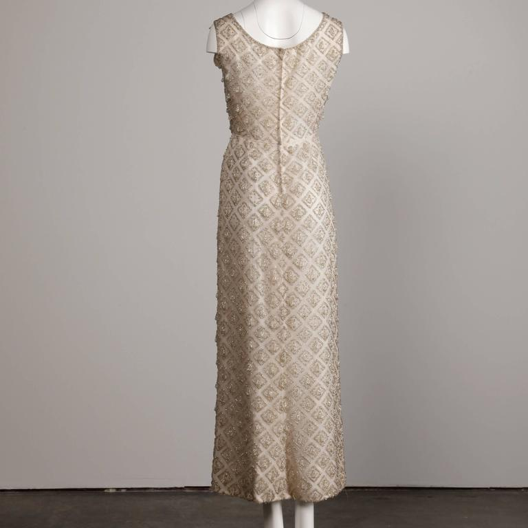 Vintage Heavily Beaded Silk Long Formal Dress Or Gown 1960s For