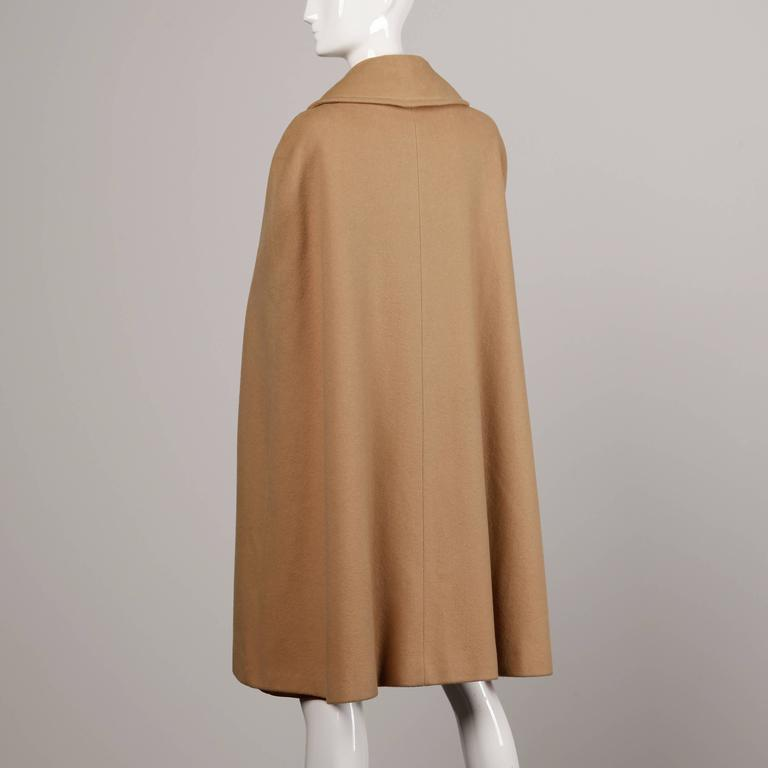 1970s Vintage Youthcraft Wool Camel Cape Coat 4