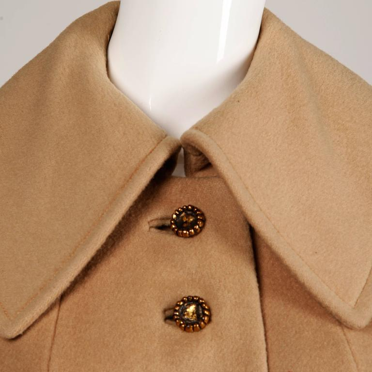 1970s Vintage Youthcraft Wool Camel Cape Coat 6