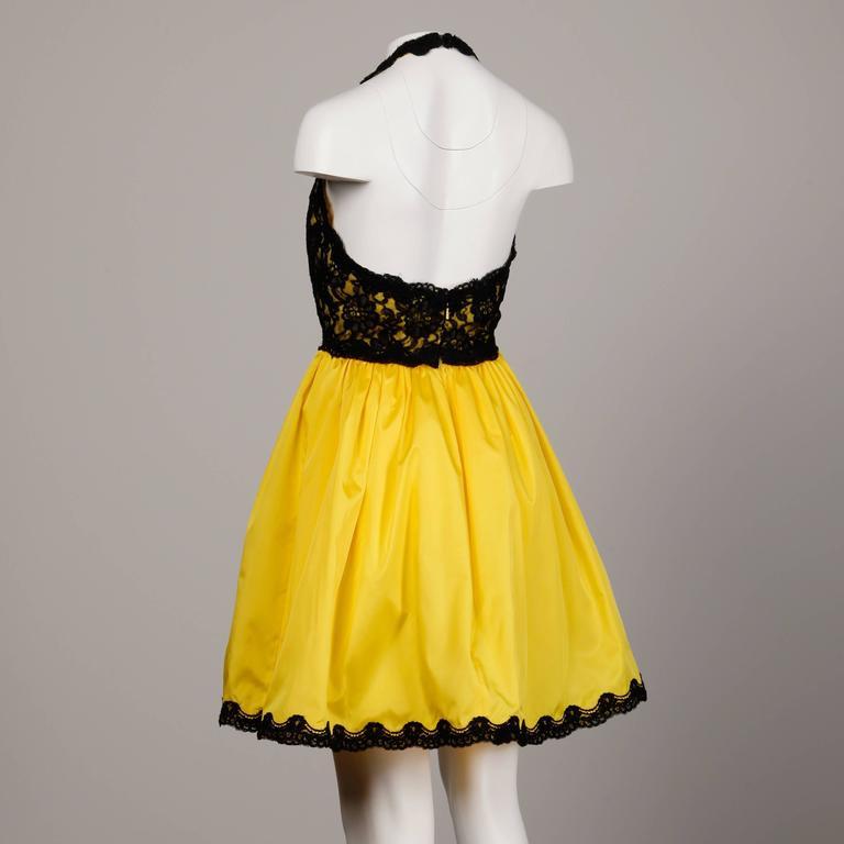 Unworn with Tags Bill Blass Vintage Yellow + Black Lace Halter Dress 3