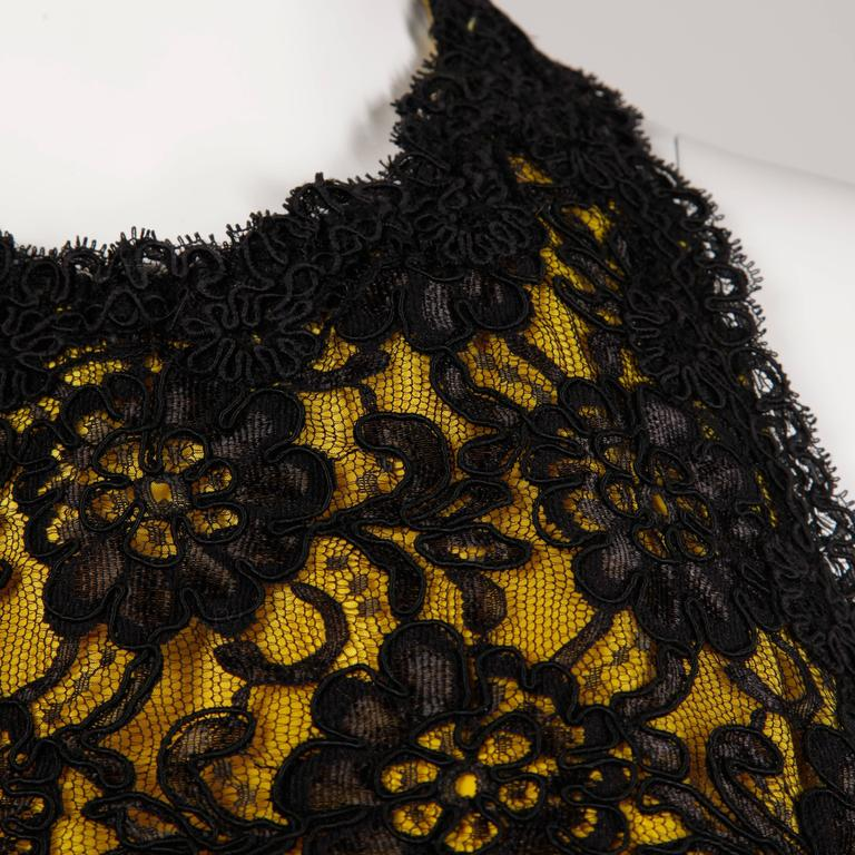 Unworn with Tags Bill Blass Vintage Yellow + Black Lace Halter Dress 5