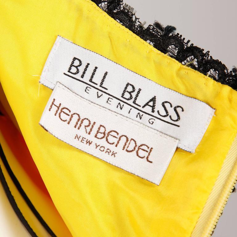 Unworn with Tags Bill Blass Vintage Yellow + Black Lace Halter Dress 2